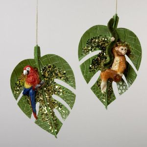 Tropical Christmas Ornaments, Parrot, Monkey - $19.95 for both