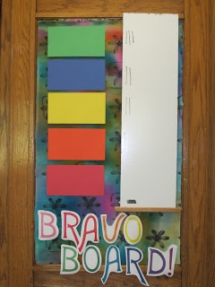 """have a spot for each table color on our """"Bravo Board."""" The first two tables that are cleaned up and sitting silently get a tally by their table color. At the end of our six day specialist cycle I will look at which table has the most tallies and that table will get a trophy on their table for the next cycle. The kids are really getting into this so far."""
