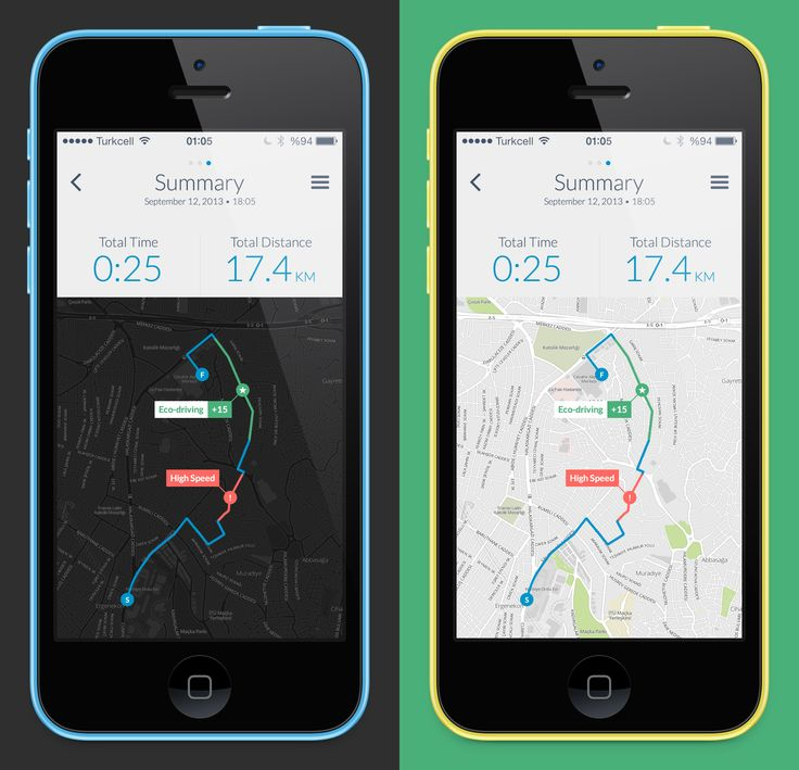 Trip summary on map #design #ios7 #apps