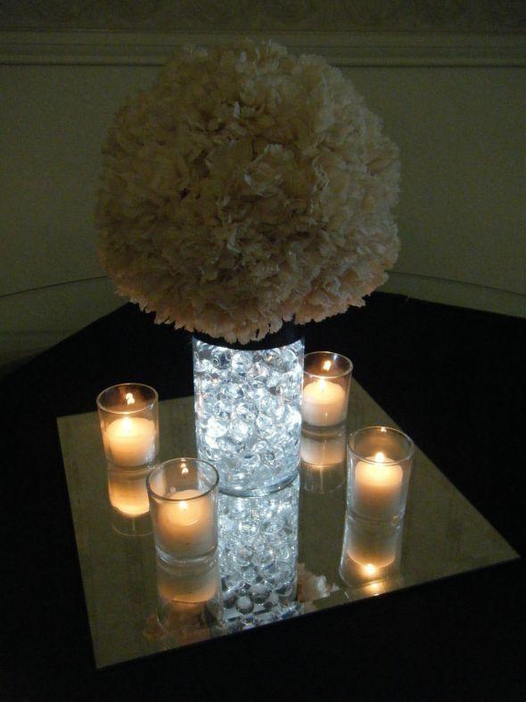Centerpiece idea; But better lights on the mirror    Bre2Bes Carnation Pom Centerpieces :  wedding carnation pomander water pearls Centerpieces 007