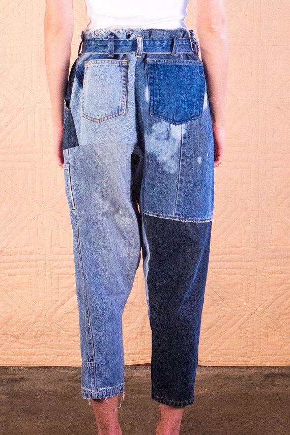 Handmade recycled denim patchwork pants by SilkDenim от SilkDenim
