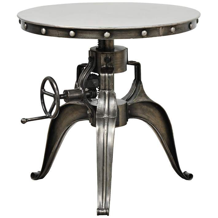 Afton Industrial Nickel Crank-Adjustable Round End Table - #8T035 | Lamps Plus