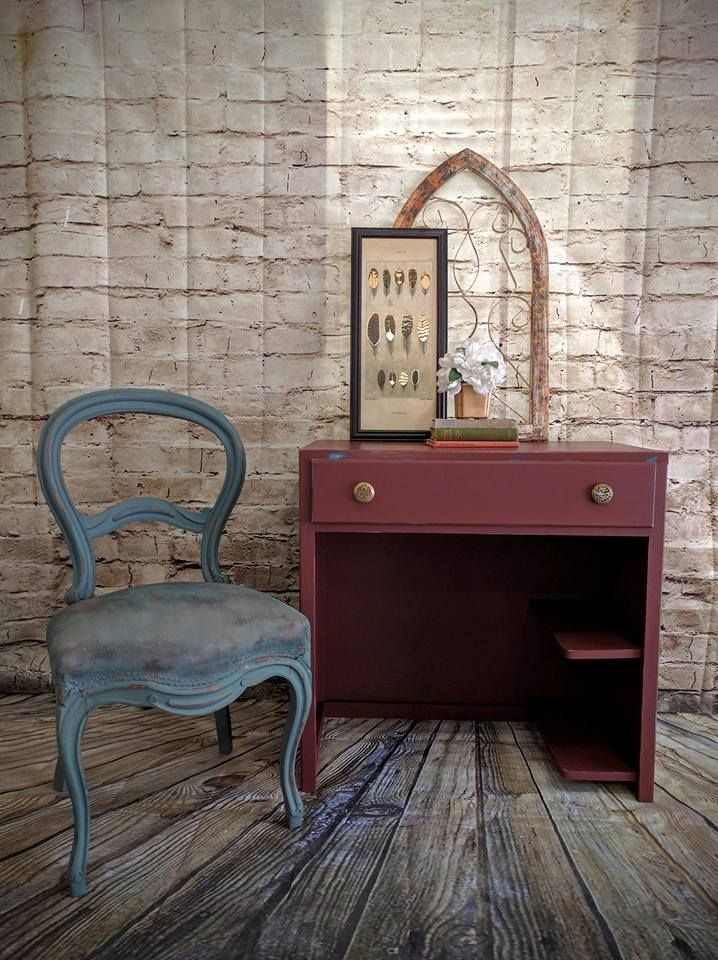 Chair panted in Stormy Sea, the desk is painted in Muscadine Wine and finished with Gator Hide. Holly from Southern Charm is loving our new colors! #DixieBellePaint