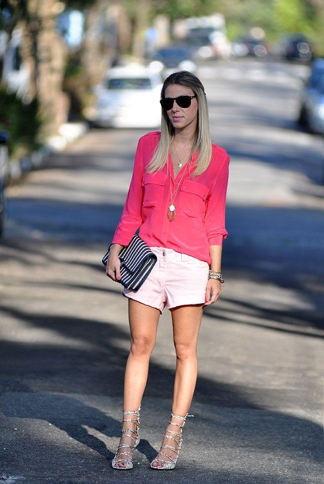 glam4you - nati vozza - monocromatico - ton sur ton - look - rosa com rosa - pink - camisa - short jeans - pastel - candy