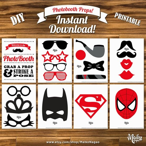 FREE: Printable photobooth props by Maiko Nagao