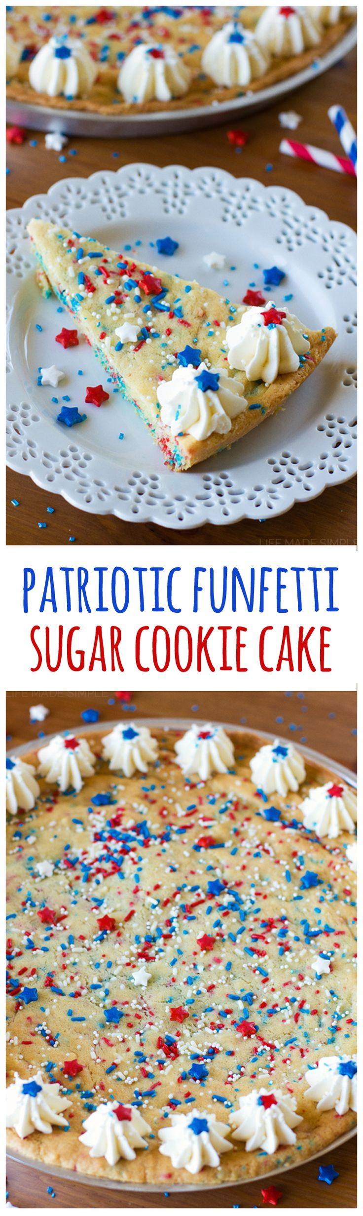 One giant sugar cookie made into a fun and festive cake. Perfect for the 4th of July!