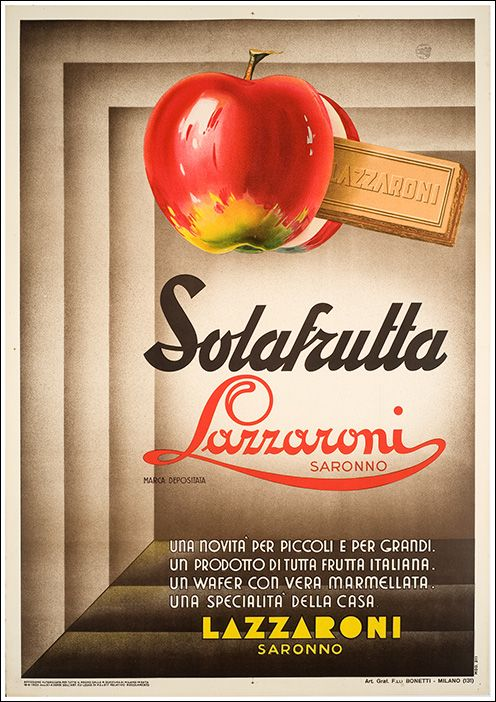 By History Of Graphic Design Solafrutta Wafer Lazzaroni Saronno Italian FoodsVintage ItalianVintage PostersVintage