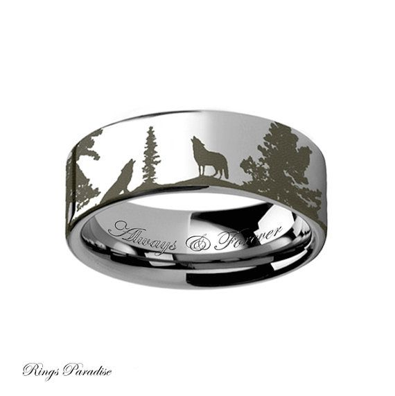 High Quality in Style Women's and Men's Tungsten Rings  Personalized Animal Landscape Scene Wolf Wolves Ring Engraved Flat Tungsten Ring - 4mm -