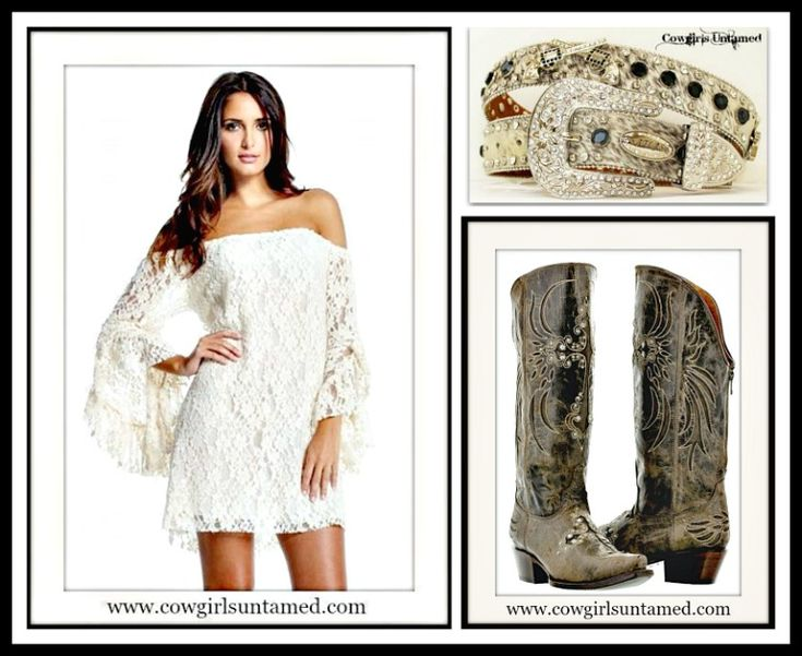 COWGIRL GYPSY DRESS White Stretchy Lace Off the Shoulder Long Sleeve Western Mini Dress/ Hair on Hide Pistol Belt/ Cross Front Brown Leather Zip Back Boots  #white #lace #dresses #bellsleeve #offtheshoulder #weddings #sexy #fitted #boots #brown #cowgirl #leatherboots #leather #belts #ridingboots #silver #crystal pistol #wholesale #boutique #western #gypsy #fashion #style #beautiful 3onlineshopping #designer