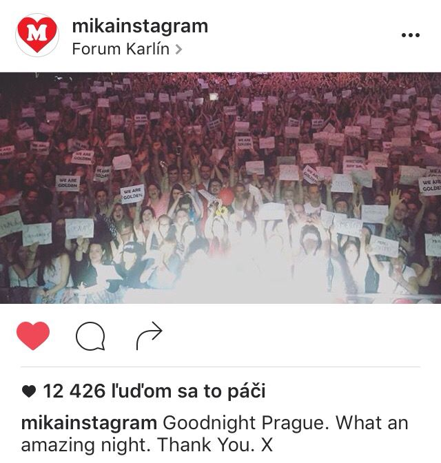 "In the middle of the song Good Guys we picked out papers with title ""THANK YOU"" in different languages. He stopped singing, took his phone and did this photo. He really liked it. I'm so glad we did something for him but he gave us much more than we did this night.  I love MIKA and I'll never stop."