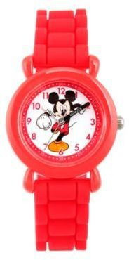 Disney Mickey Mouse Children's Time Teacher Watch in Red Plastic with Red Silicone Strap
