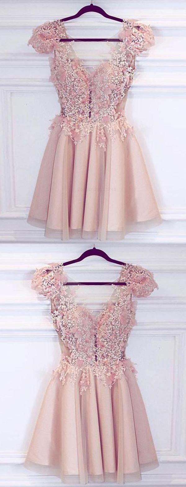 Lace wedding dress cheap december 2018 Hot Sale Luxurious V Neck Homecoming Dress ALine Homecoming Dress