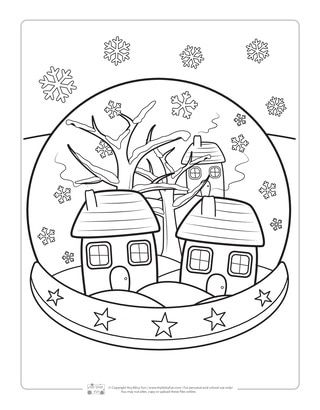 Snow Globe Coloring Page For Kids