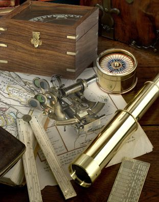 Pocket sextant as used by Victorian explorers and surveyors. Intricate and semi-functional, sextant has all the pieces needed to shoot the sun