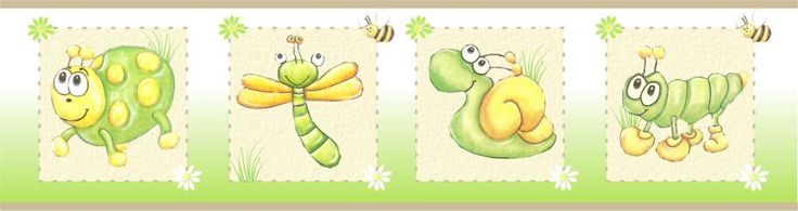 Unisex insect wall border  Product code 0117  Perfect for twins or for couples that want to keep the gender a surprise  4.8m X 15cm per roll  Contact us for prices and shipping terms - we deliver nationwide within SA!!!