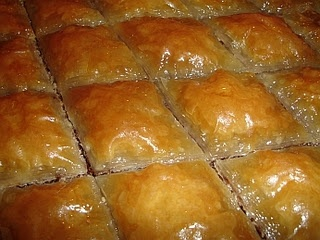 Baclava (or Baklava) is probably one of the best-known sweets from this area of the world and quite rightly so, in my opinion! You should be able to obtain the sheets of filo pastry where you live - it's available in most parts of the world, I believe.