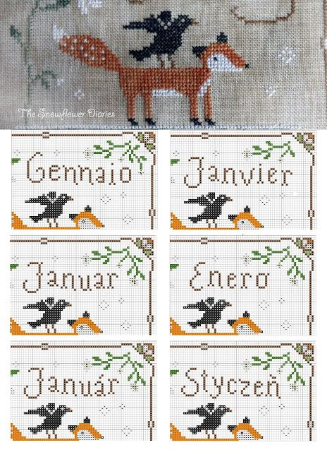 Part of the first monthly pattern (January) of the Joyful World Stitch Along by The Snowflower Diaries. You can see the month name in Italian, French, German, Spanish, Hungarian and Polish. More languages coming soon:-) All the Joyful World patterns are free to download:-) You are welcome to join the stitch along (started on January 03/2016) on this SAL Facebook group: https://www.facebook.com/groups/205380023141305/