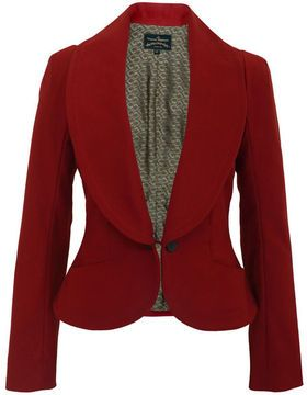Vivienne Westwood Anglomania Electric-08 Red Jacket Vivienne Westwood - Red felted cotton Electric jacket with a full length collar, a concealed, removable double buttoned fastener, two petite open pockets, a sided rear vent and full 'Anglomania' gold fabric lining.
