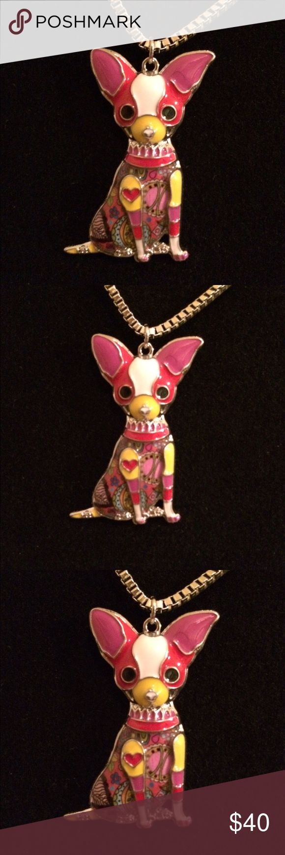 STATEMENT ENAMEL JEWELRY CHIHUAHUAS DOG NECKLACE Maxi Statement Enamel Jewelry Chihuahuas Dog Necklace & Pendant. Fashion. New. Woman. Red. Necklace 20 inches. Extender 3 inches.  Necklace is Silver. Backing & Outline are Silver. Jewelry Necklaces