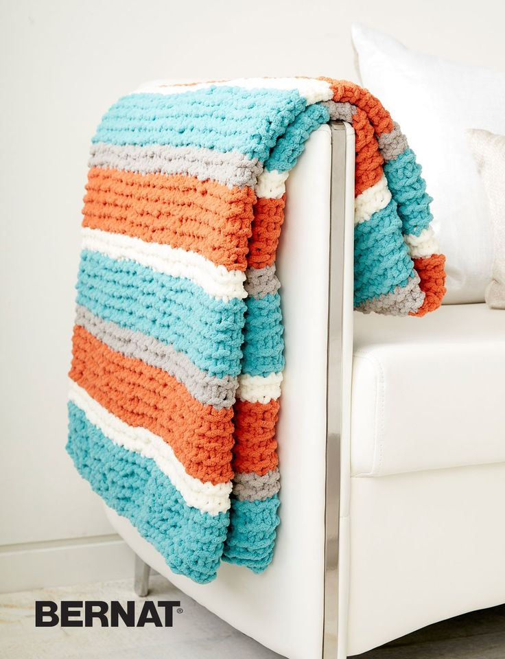 Bernat Baby Blanket Yarn Knitting Patterns : Freshen up your home decor with this vibrant throw blanket. Knit in Bernat Bl...