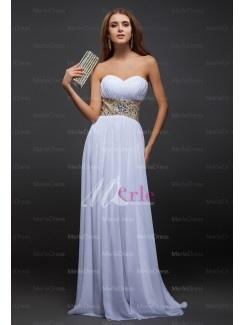 Front:Graceful Sheath/Column Sweetheart Sleeveless Beading Floor-Length Chiffon Dresses