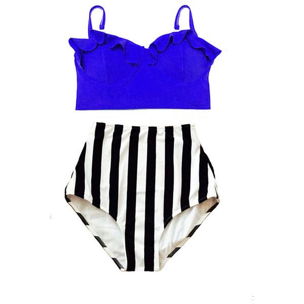 Blue Underwire Midkini Top and w/b Stripe Striped High Waist Waisted... ($40) ❤ liked on Polyvore featuring swimwear, bikinis, light purple, women's clothing, high waisted swimsuit, retro bikini, retro high waisted swimsuits, high waist bikini swimsuit and retro bathing suits
