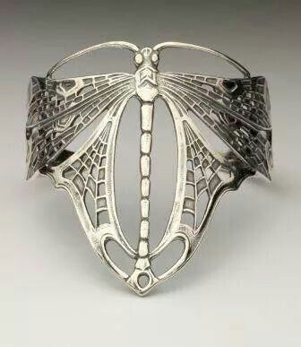 1920's sterling silver dragonfly cuff
