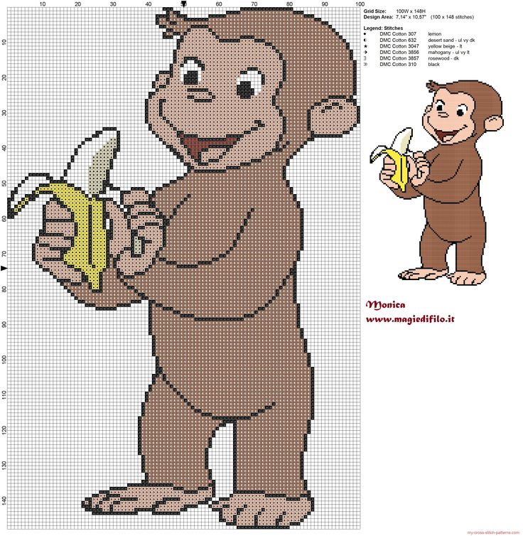 George with banana (Curious George) cross stitch pattern