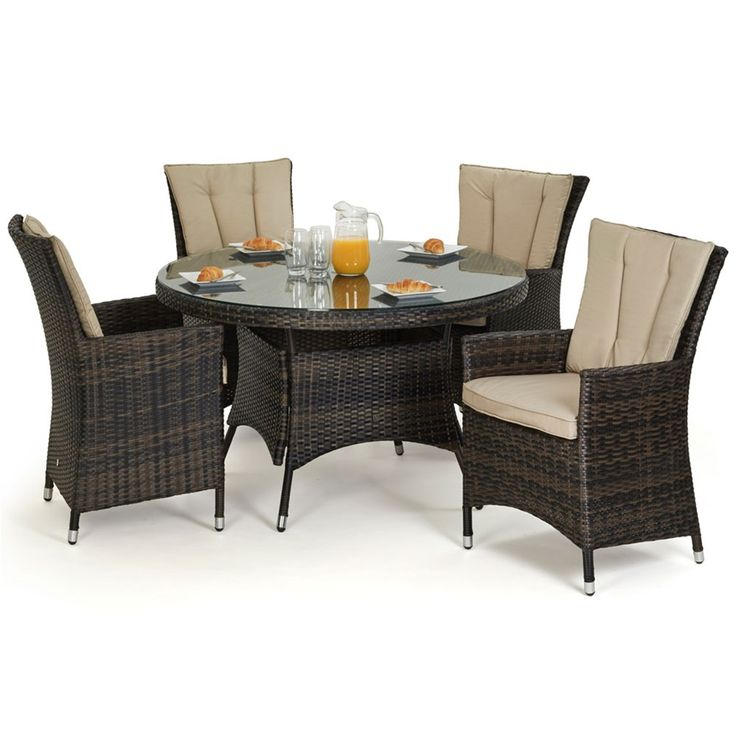 Maze Rattan's LA weave is handwoven around the aluminium frame, the synthetic rattan can be left outside all year round exposed to the elements. The 1.2m table is topped with safety glass for your peace of mind and the seat and back cushion covers can be removed easily for washing. Available in Mixed Brown or Mixed Grey.