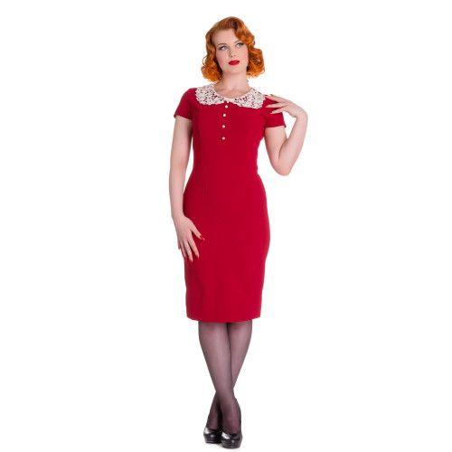 Super leuke vintage jurk. Afgewerkt met schattig kanten kraagje. Met vier parel imitatie knopen aan de voorkant. Onzichtbare rits aan de achterkant.