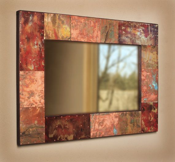 Copper & Painted Metal Mirror - Oh to give this a try with Crescent Bronze Copper #770 and Antique Copper #771!