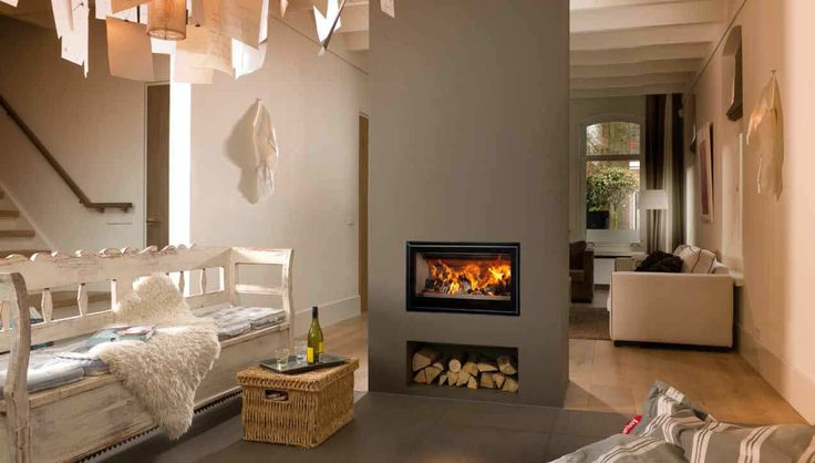 Outstanding Wood Burning Fireplace Insert Design features Rectangle Shape Built In Fireplace Flat Panels and Rectangle Shape Logs Storage Box