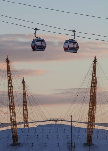 London Cable Car is OPEN! Cable cars over the O2 Arena.