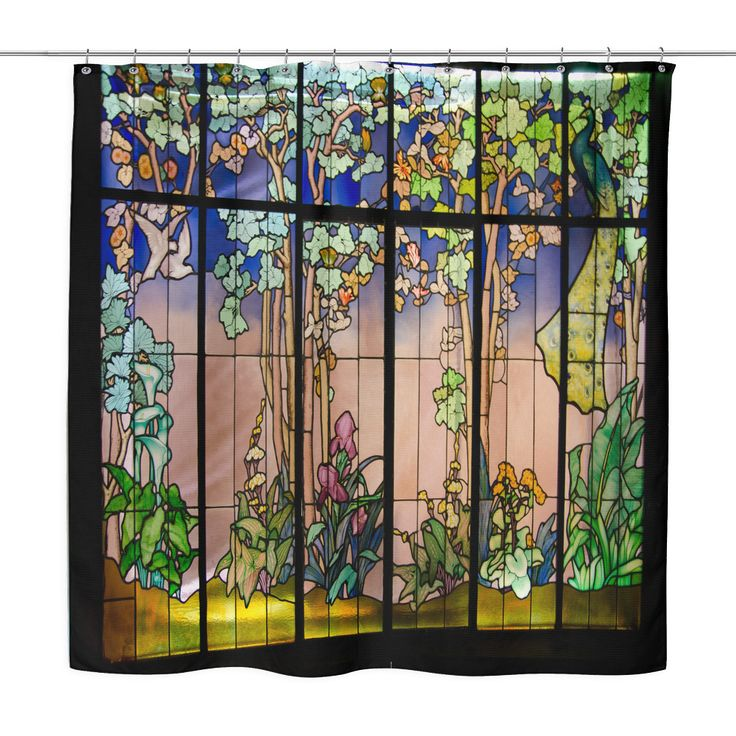 Stained Glass Garden Window Shower Curtain