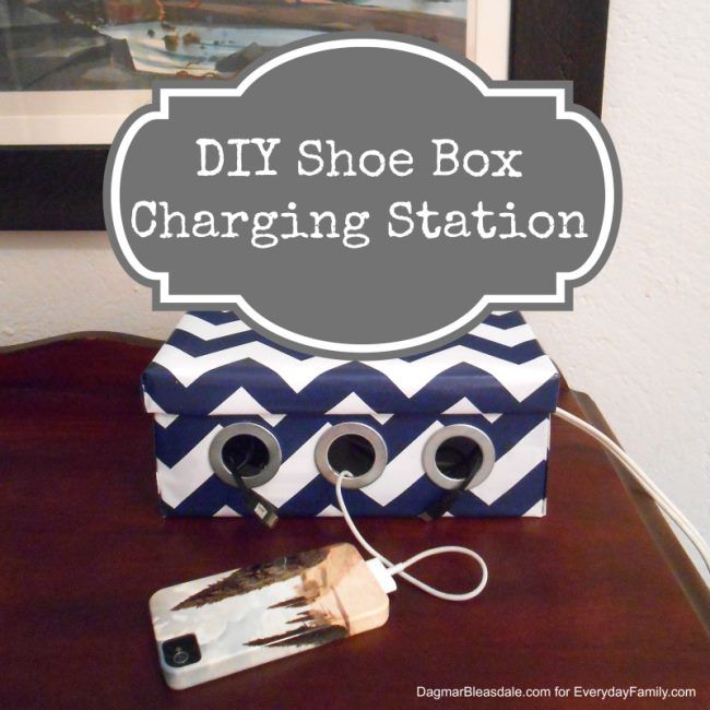 Make a stylish charging station out of a simple shoe box to hide the cables and to keep all your chargers in one place.