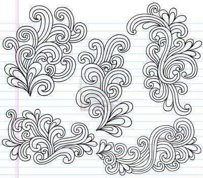 Notebook Doodle Swirly Vector Illustration Design Elements Stock Photo