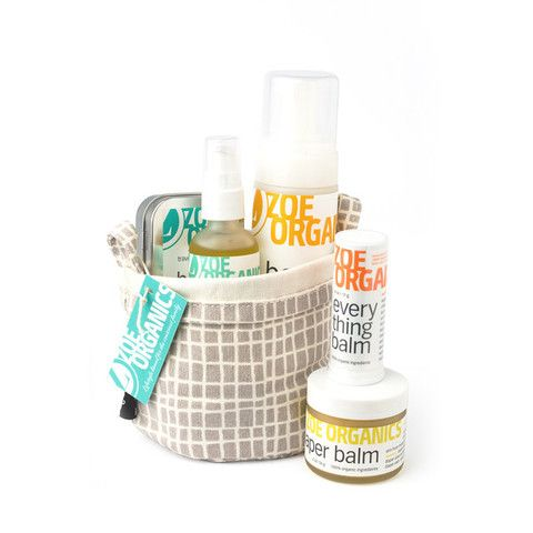 Baby Gift Sets- Our beautiful organic Baby Gift Sets contain our nourishing bath and body care products nestled in a collapsible bucket made of 100% recycled canvas and hand-printed with eco-friendly, soy-based inks. These gorgeous buckets look lovely in the bathroom or nursery and can be used for countless other purposes. Give the gift of healthy skin and peace of mind to the moms and babies in your life.  (pictured is our Deluxe Baby Gift Set)