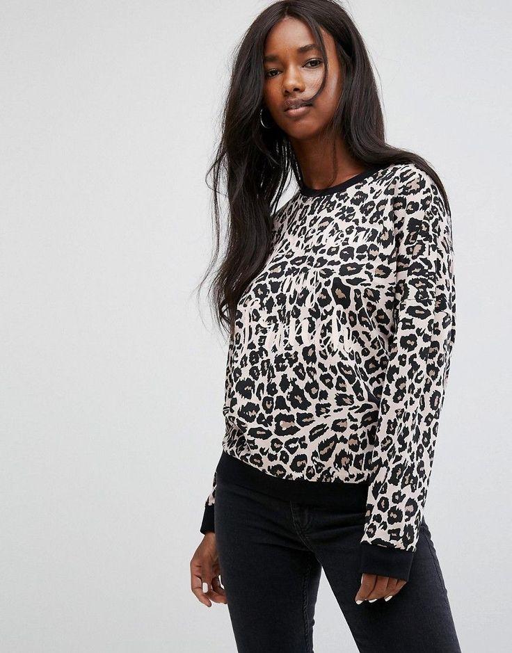 Noisy May Leopard Print Sweatshirt - Gray