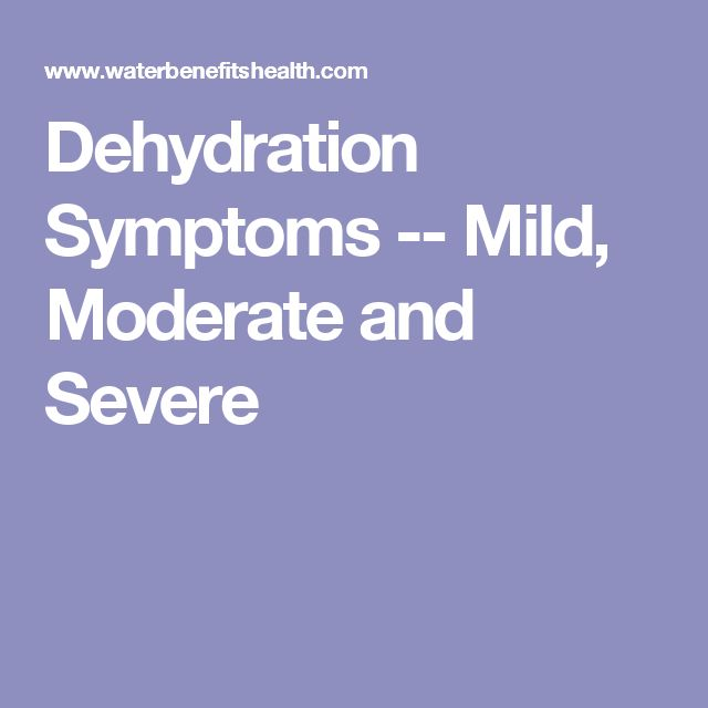 Dehydration Symptoms -- Mild, Moderate and Severe
