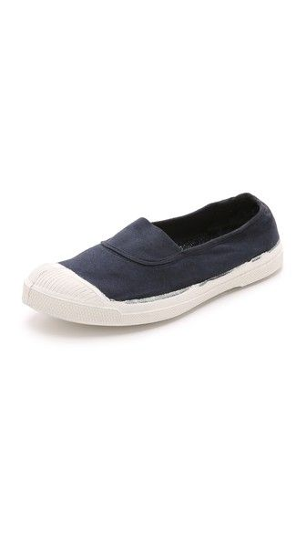 Easy on and off, and cute enough to wear with skirts.   Bensimon Tennis Elastique Sneakers (charcoal or navy)