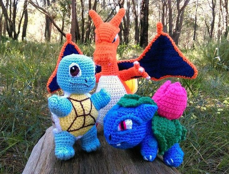 'Squirtle', 'Charizard' and 'Ivysaur' - Pokémon characters.   Project information and pattern links here;   'Squirtle' - http://www.ravelry.com/projects/LindaDavie/baby-Squirtle  'Charizard' - http://www.ravelry.com/projects/LindaDavie/Charizard 'Ivysaur' - http://www.ravelry.com/projects/LindaDavie/baby-bulbasaur
