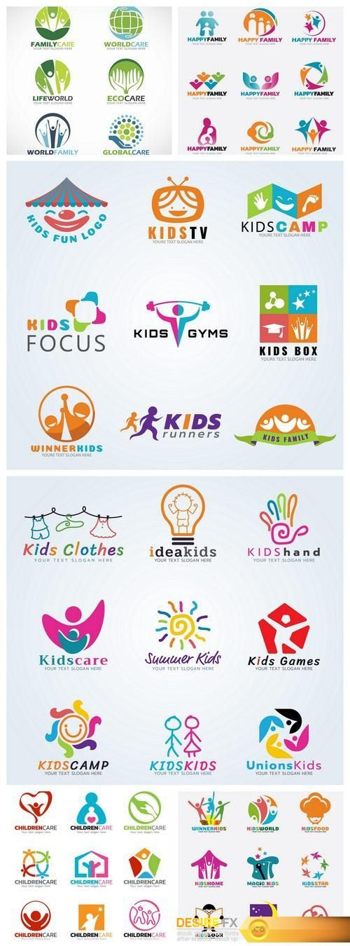 Find your Grapfix Desire With US http://www.desirefx.me/kids-child-sport-and-fun-logo-vector-set-design-6x-eps/