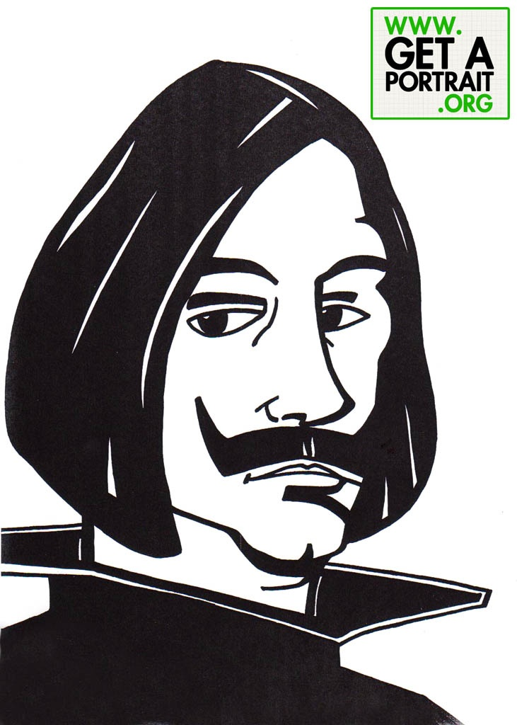 Caricature of Velasquez, Spanish painter — Get a high quality PORTRAIT or CARICATURE from a pro, for an unbeatable price! GetAPortrait.org