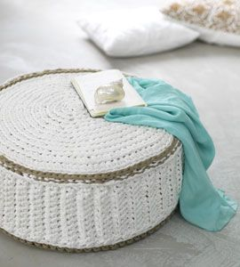 lovely crocheted pouf, crocheted from a commercial t-shirt yarn (I believe) called Spaghetti