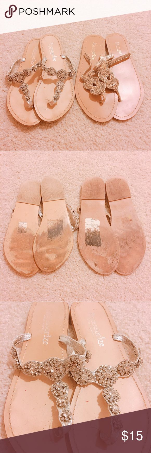 Accessorize Sandals Two Ladies Accessorize Sandals, size small, fits Size 6-7.  Missing one big crystal and one small crystal on the pair on the left.  The pair on the right is missing one tiny crystal.  All in all they are worn but get great compliments. Accessorize Shoes Sandals