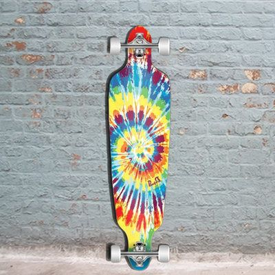 The Punked Tiedye Rasta drop through longboard with vibrant colors. This quality cheap longboard from Punked is perfect for cruising and carving.