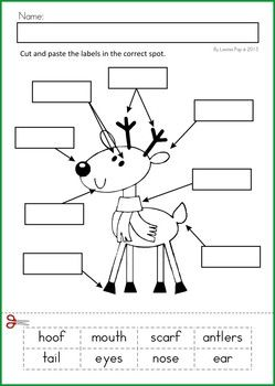 Math & Literacy Worksheets & Activities - Christmas {98 pages} A page from the unit: Label It cut and paste