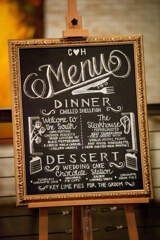 Hand Drawn Wedding Menu On Chalkboard Wedding Decor