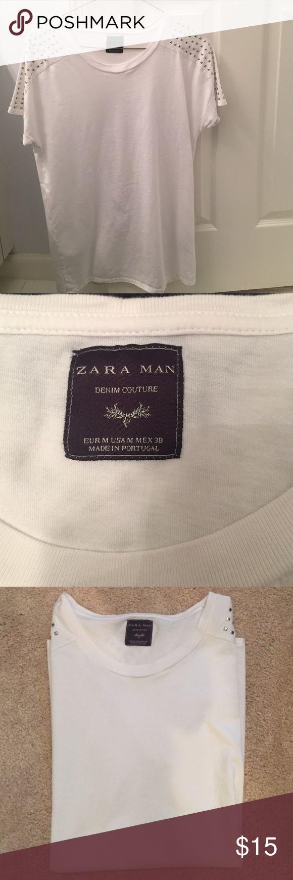 Zara Men's Studded Shirt BARELY WORN (only worn once) Zara Men's studded shirt. The shoulders are studded. Zara Shirts Tees - Short Sleeve