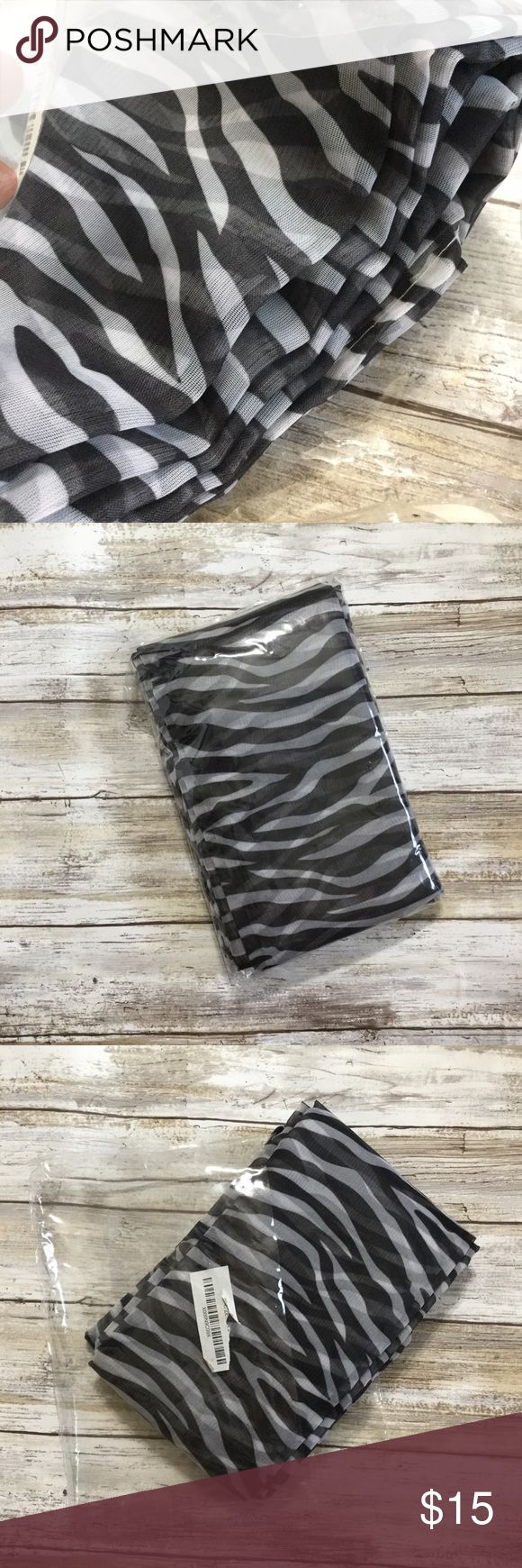 ▪️Zebra Print Sheer Curtain Scarf NWT▪️ •Sheer zebra print curtain scarf  •new in original packaging   Thanks for looking, and don't be shy- I'm happy to answer all questions and I'll entertain any offer!😉😘 jcpenney Other